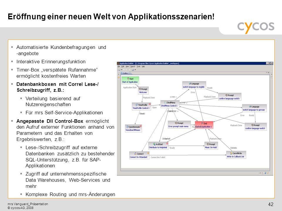 Kurztitel mrs Vanguard_Präsentation © cycos AG, 2008 41 Graphical Application Builder Programmiertool für intuitive Interactive Voice Response (IVR) I