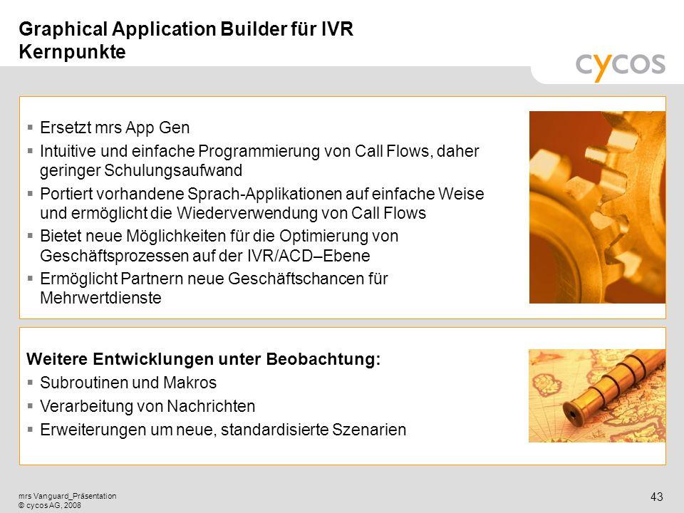 Kurztitel mrs Vanguard_Präsentation © cycos AG, 2008 42 Eröffnung einer neuen Welt von Applikationsszenarien! Automatisierte Kundenbefragungen und -an