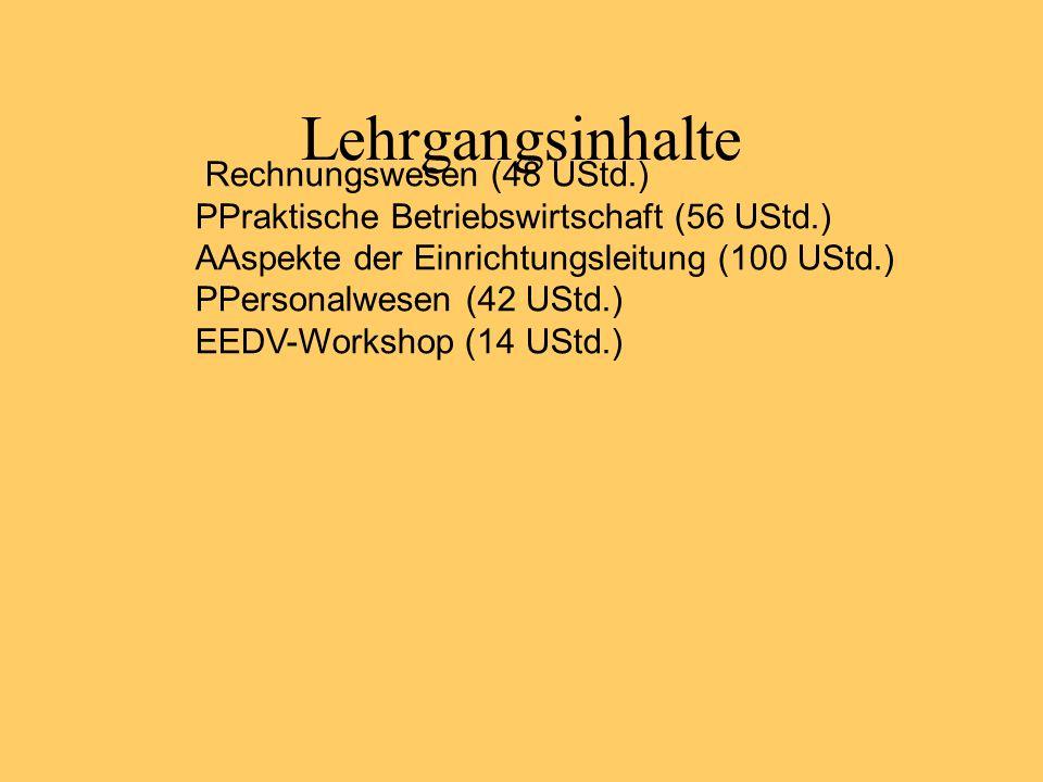 Lehrgangsinhalte Rechnungswesen (48 UStd.) PPraktische Betriebswirtschaft (56 UStd.) AAspekte der Einrichtungsleitung (100 UStd.) PPersonalwesen (42 U