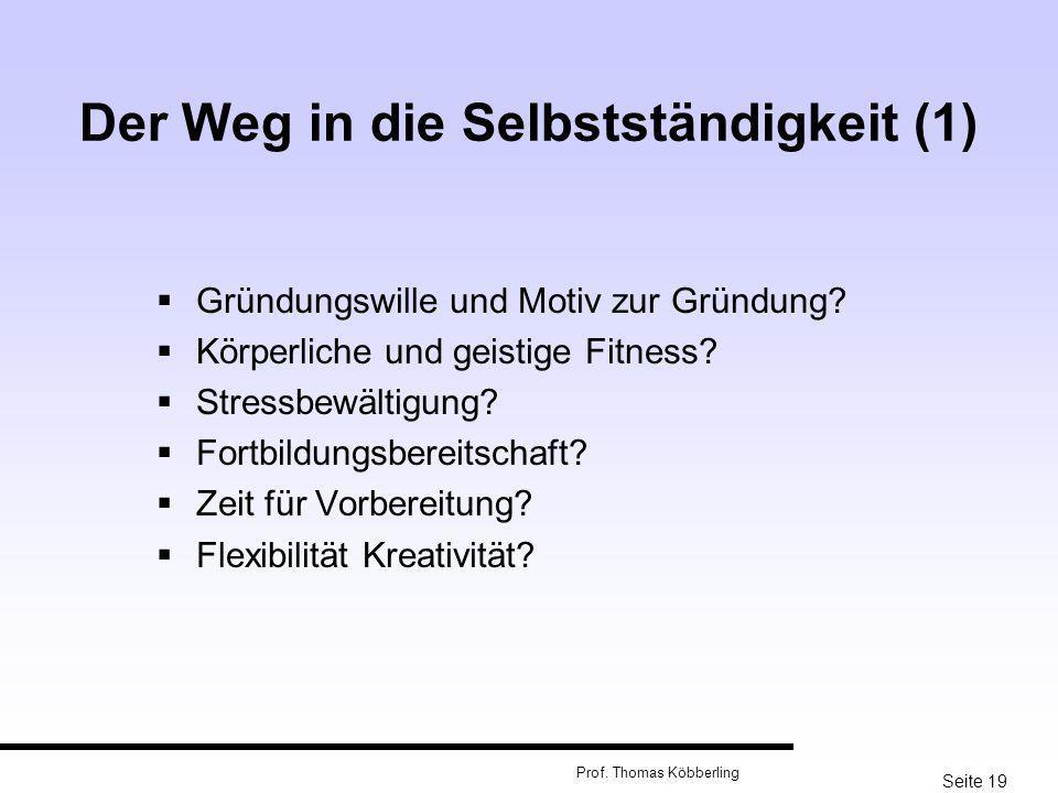 Seite 19 Prof. Thomas Köbberling Der Weg in die Selbstständigkeit (1) Gründungswille und Motiv zur Gründung? Körperliche und geistige Fitness? Stressb