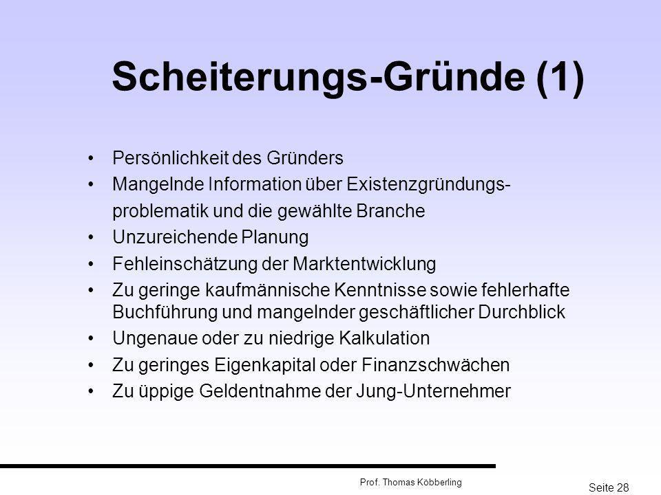 Seite 28 Prof. Thomas Köbberling Scheiterungs-Gründe (1) Persönlichkeit des Gründers Mangelnde Information über Existenzgründungs- problematik und die