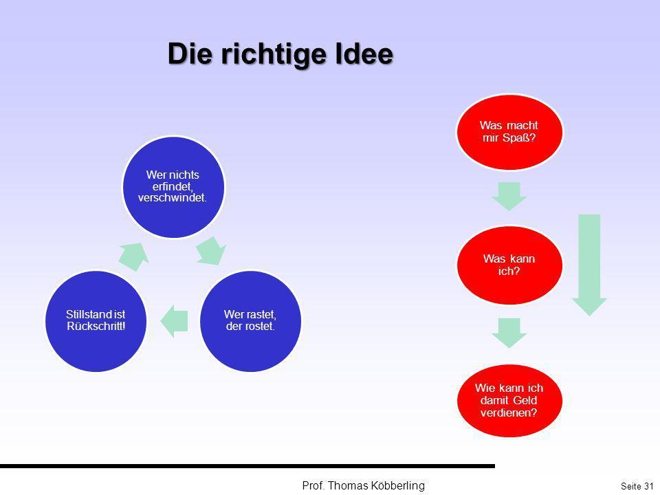Seite 31 Prof. Thomas Köbberling Die richtige Idee Wer nichts erfindet, verschwindet. Wer rastet, der rostet. Stillstand ist Rückschritt! Was macht mi
