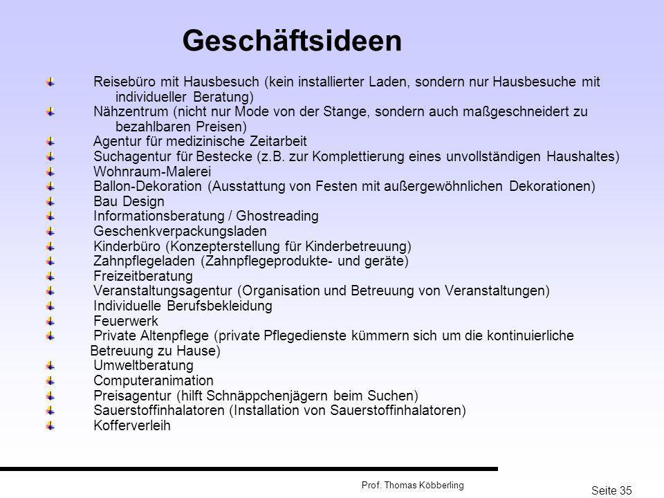 Seite 35 Prof. Thomas Köbberling Reisebüro mit Hausbesuch (kein installierter Laden, sondern nur Hausbesuche mit individueller Beratung) Nähzentrum (n