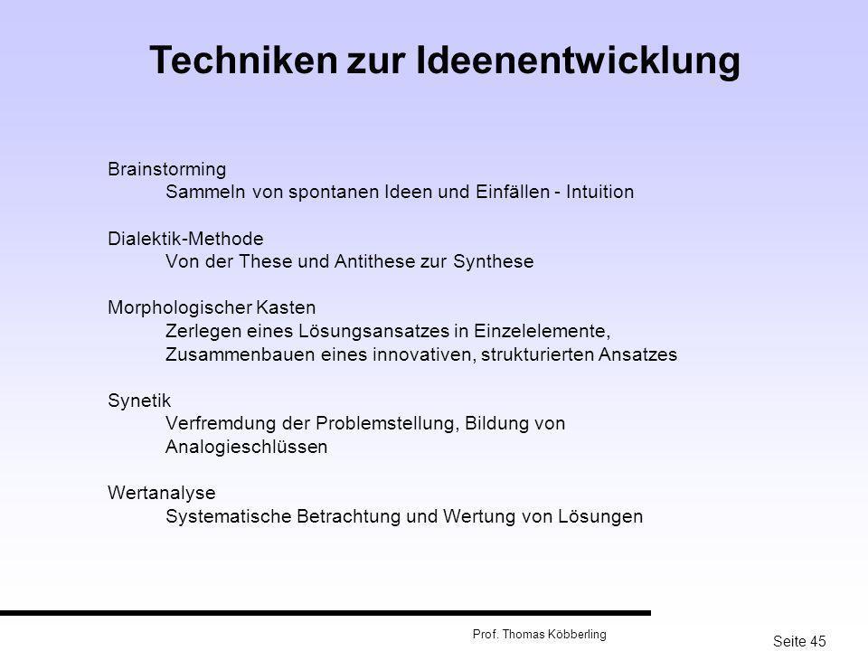Seite 45 Prof. Thomas Köbberling Brainstorming Sammeln von spontanen Ideen und Einfällen - Intuition Dialektik-Methode Von der These und Antithese zur