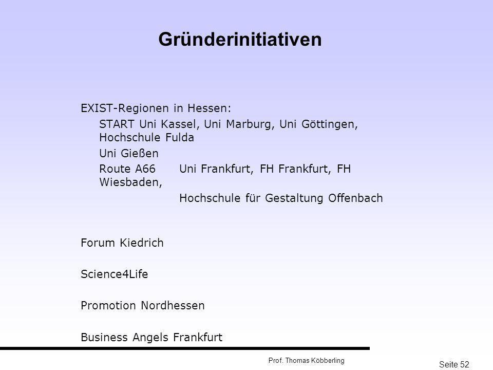Seite 52 Prof. Thomas Köbberling EXIST-Regionen in Hessen: START Uni Kassel, Uni Marburg, Uni Göttingen, Hochschule Fulda Uni Gießen Route A66Uni Fran