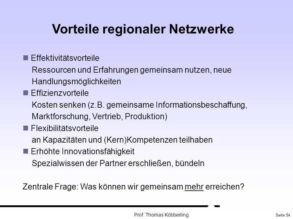 Seite 54 Prof. Thomas Köbberling Vorteile regionaler Netzwerke Effektivitätsvorteile Ressourcen und Erfahrungen gemeinsam nutzen, neue Handlungsmöglic