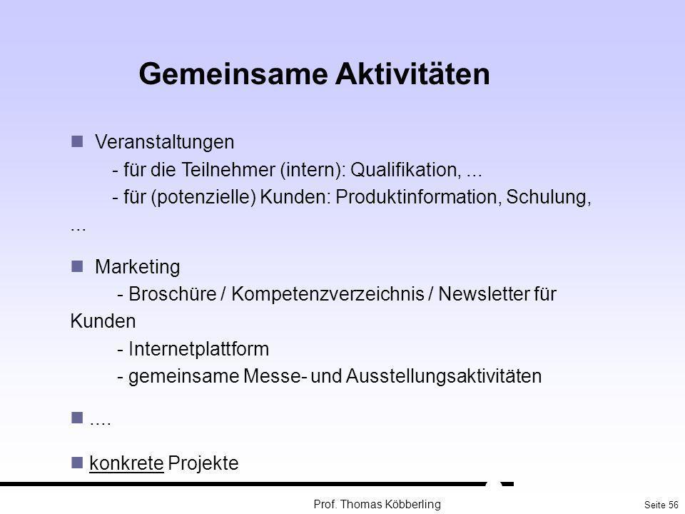 Seite 56 Prof. Thomas Köbberling Gemeinsame Aktivitäten Veranstaltungen - für die Teilnehmer (intern): Qualifikation,... - für (potenzielle) Kunden: P