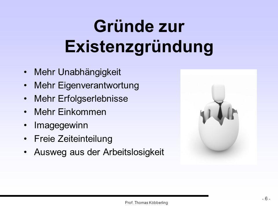 Seite 17 Prof. Thomas Köbberling Zahlen und Fakten zur Selbstständigkeit