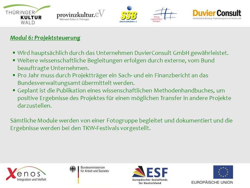 Modul 6: Projektsteuerung Wird hauptsächlich durch das Unternehmen DuvierConsult GmbH gewährleistet. Weitere wissenschaftliche Begleitungen erfolgen d