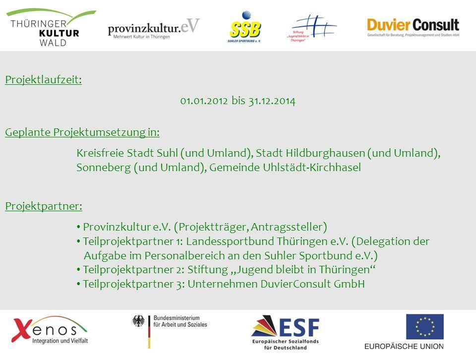 Projektpartner: Provinzkultur e.V. (Projektträger, Antragssteller) Teilprojektpartner 1: Landessportbund Thüringen e.V. (Delegation der Aufgabe im Per