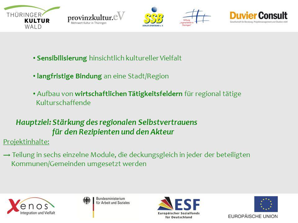 Projektinhalte: Teilung in sechs einzelne Module, die deckungsgleich in jeder der beteiligten Kommunen/Gemeinden umgesetzt werden Sensibilisierung hin
