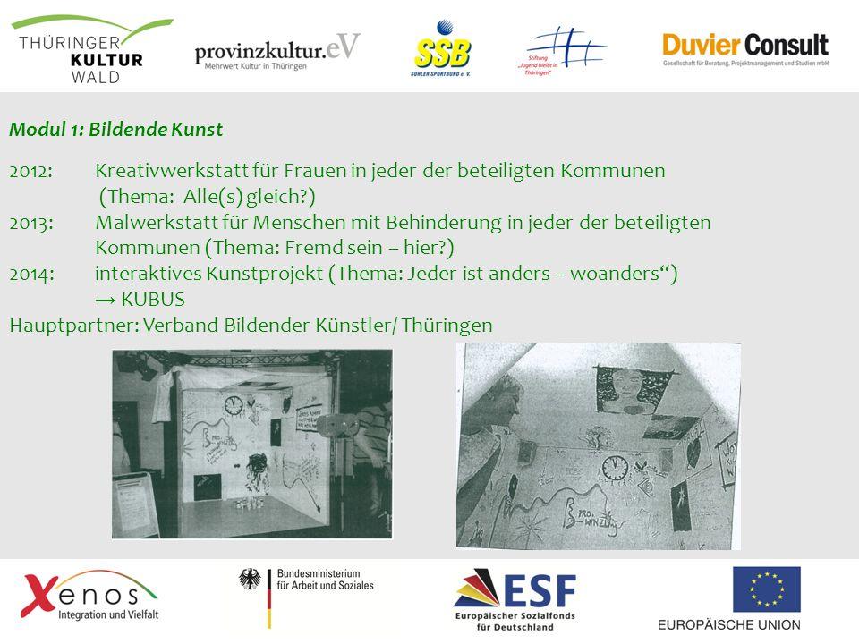 Modul 1: Bildende Kunst 2012: Kreativwerkstatt für Frauen in jeder der beteiligten Kommunen (Thema: Alle(s) gleich?) 2013: Malwerkstatt für Menschen m