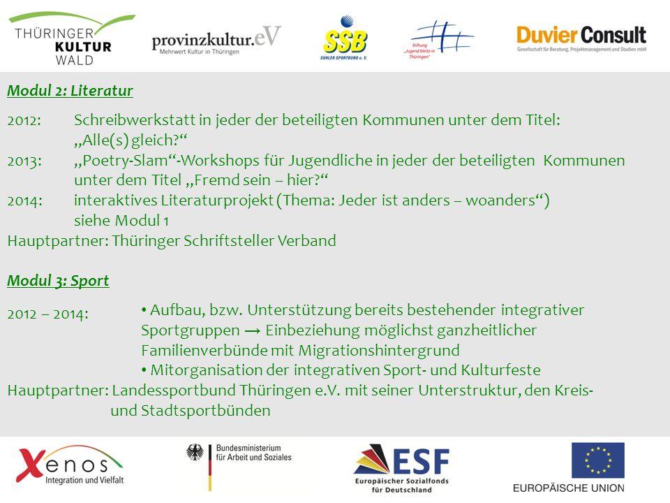 Modul 2: Literatur 2012: Schreibwerkstatt in jeder der beteiligten Kommunen unter dem Titel: Alle(s) gleich? 2013: Poetry-Slam-Workshops für Jugendlic