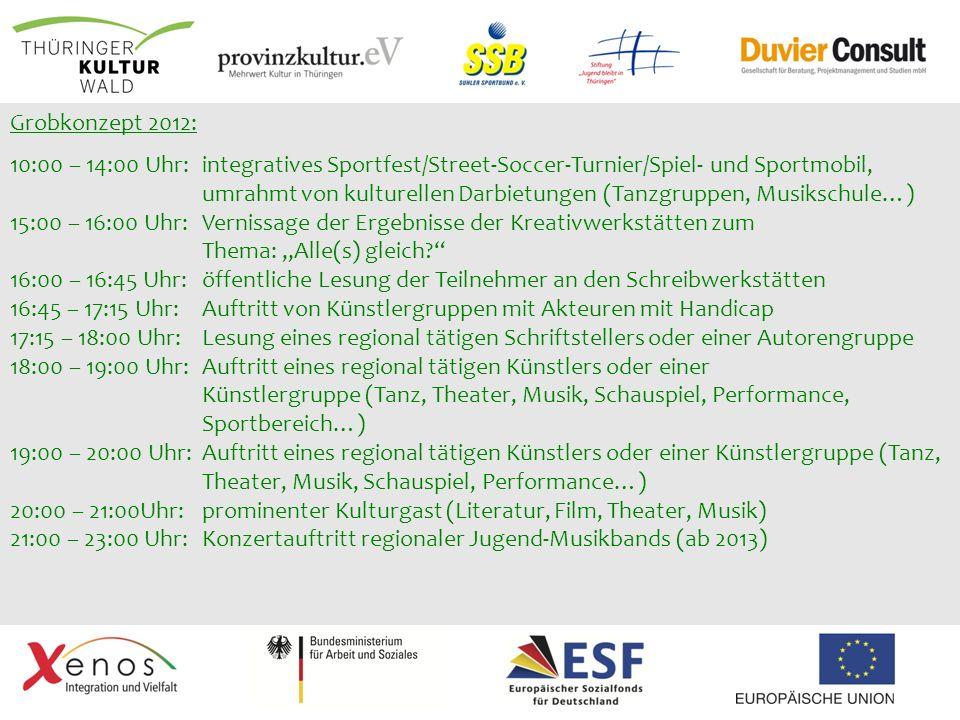 Grobkonzept 2012: 10:00 – 14:00 Uhr: integratives Sportfest/Street-Soccer-Turnier/Spiel- und Sportmobil, umrahmt von kulturellen Darbietungen (Tanzgru