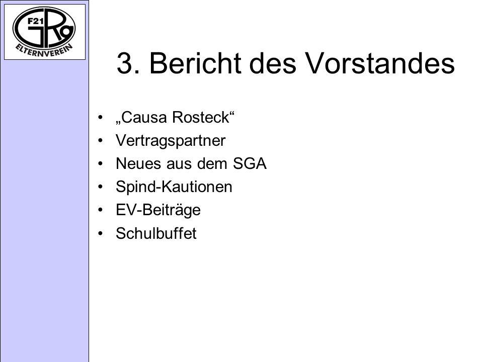 3. Bericht des Vorstandes Causa Rosteck Vertragspartner Neues aus dem SGA Spind-Kautionen EV-Beiträge Schulbuffet