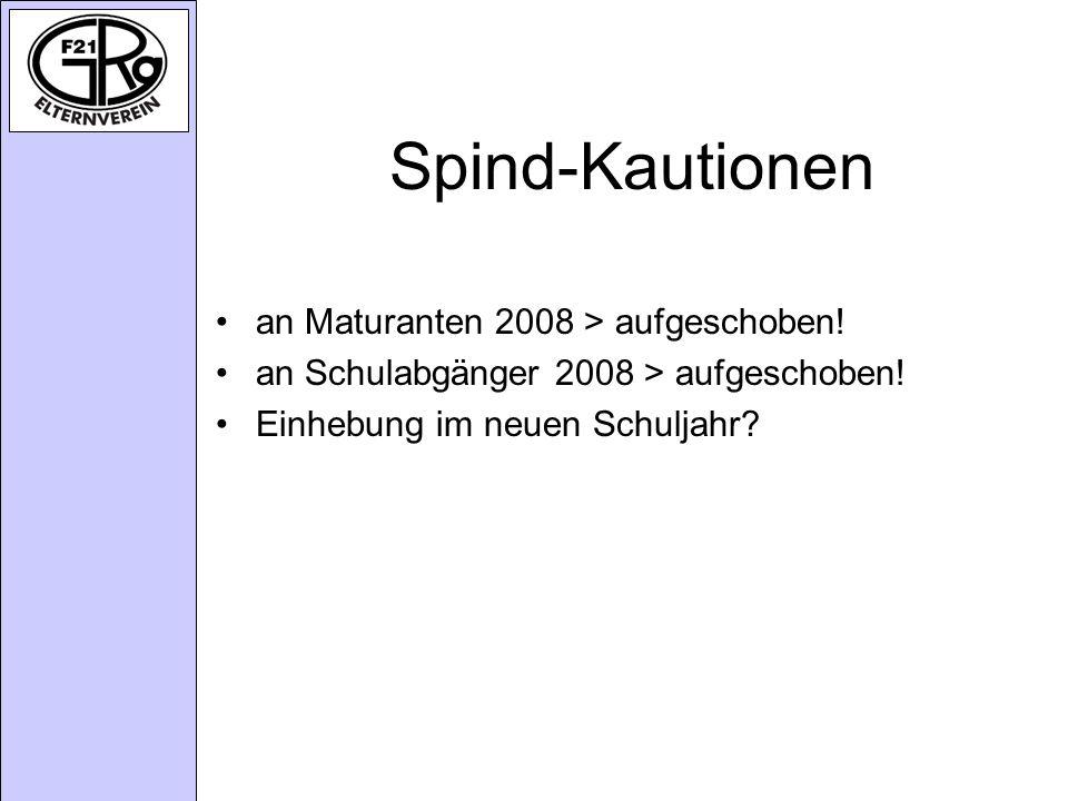 Spind-Kautionen an Maturanten 2008 > aufgeschoben.