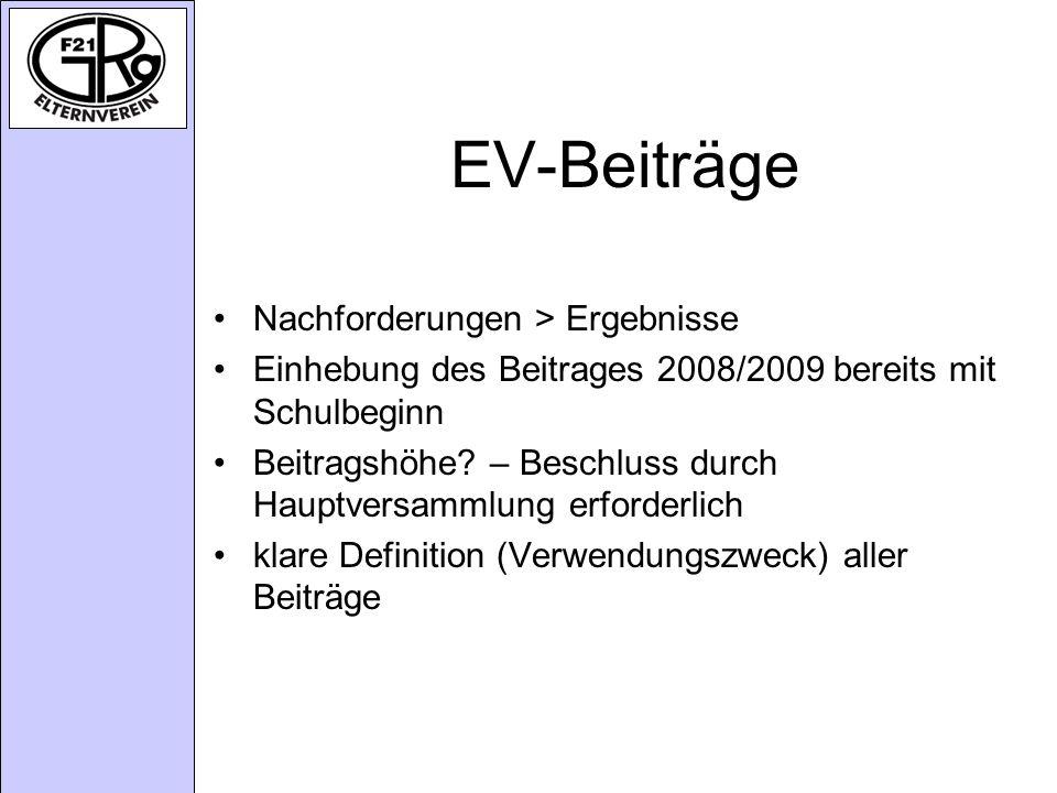 EV-Beiträge Nachforderungen > Ergebnisse Einhebung des Beitrages 2008/2009 bereits mit Schulbeginn Beitragshöhe.