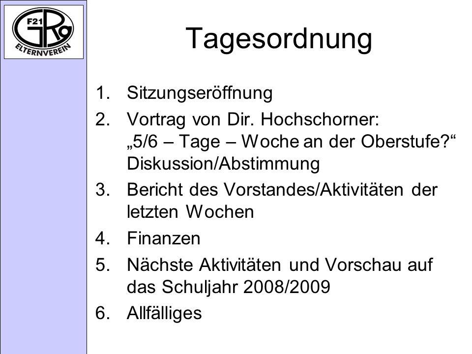 Tagesordnung 1.Sitzungseröffnung 2.Vortrag von Dir.
