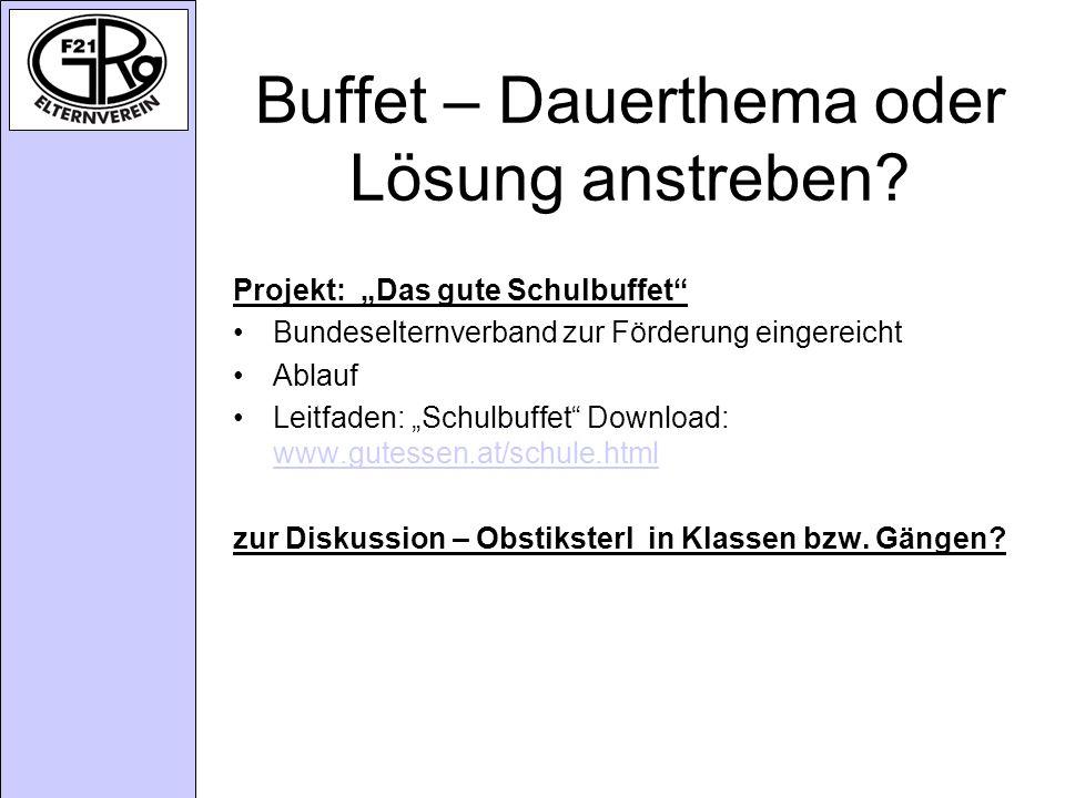 Buffet – Dauerthema oder Lösung anstreben.