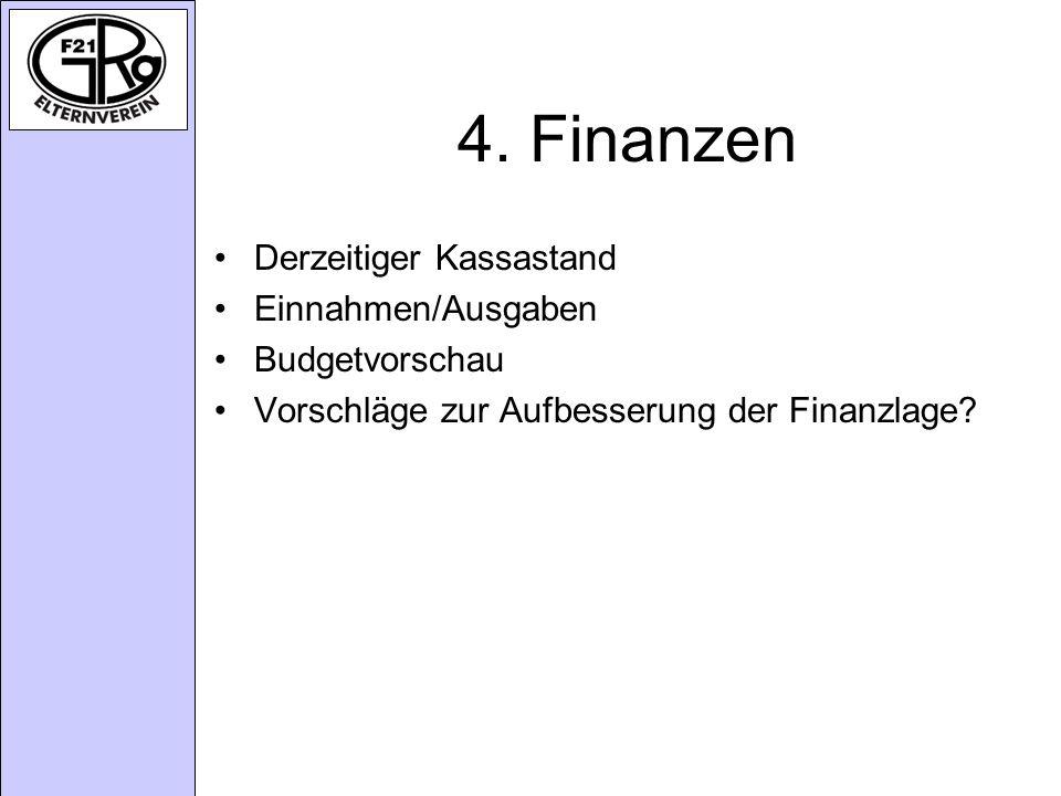 4. Finanzen Derzeitiger Kassastand Einnahmen/Ausgaben Budgetvorschau Vorschläge zur Aufbesserung der Finanzlage?