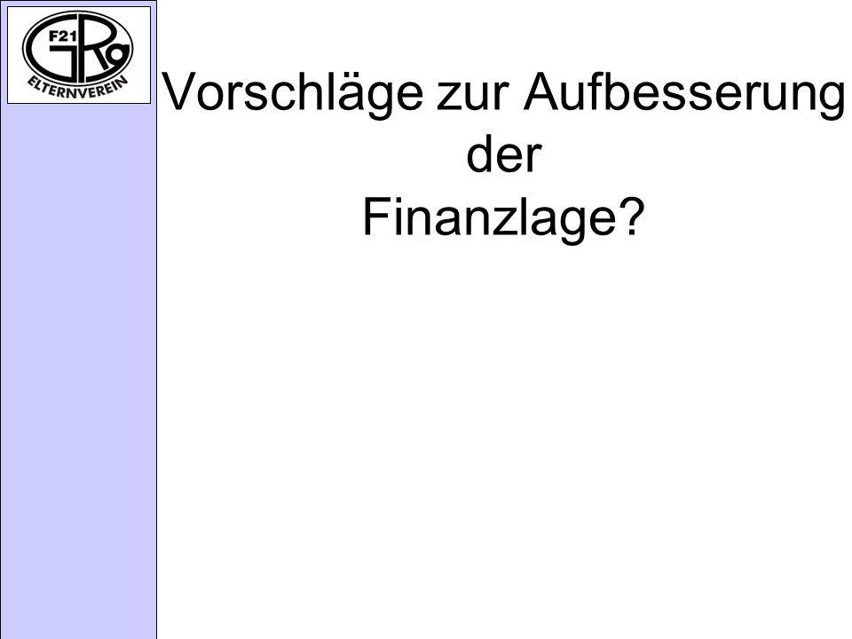 Vorschläge zur Aufbesserung der Finanzlage?