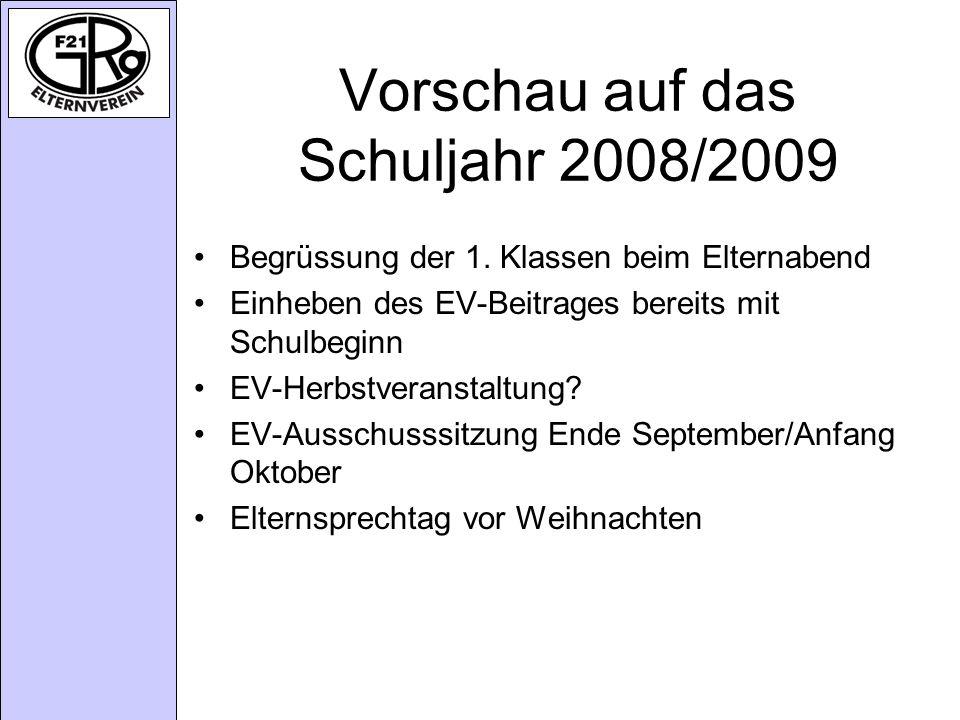Vorschau auf das Schuljahr 2008/2009 Begrüssung der 1.