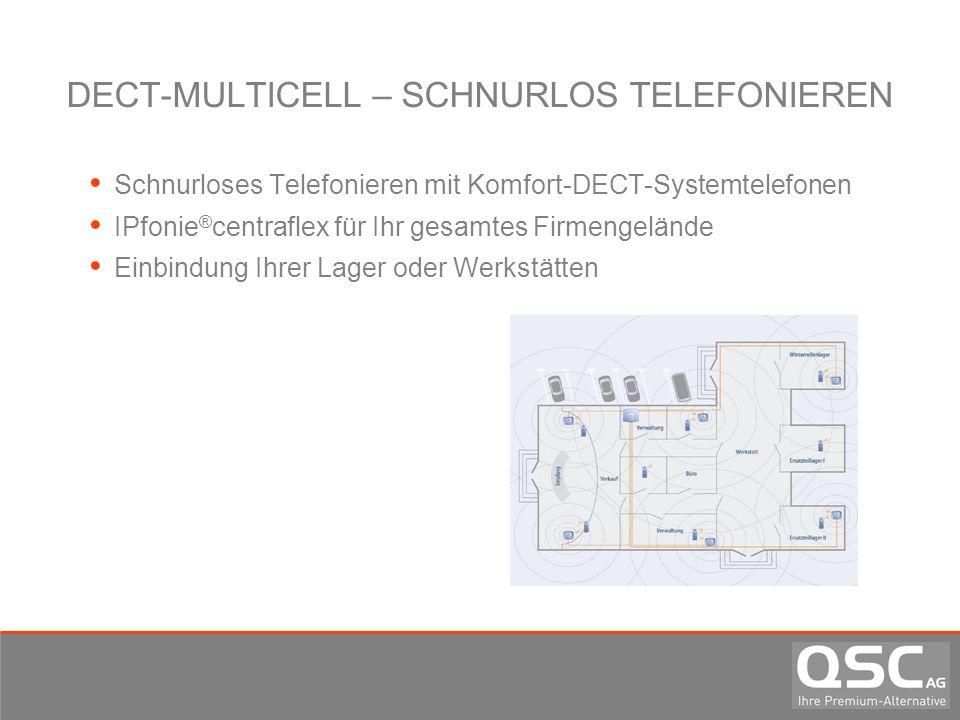 DECT-MULTICELL – SCHNURLOS TELEFONIEREN Schnurloses Telefonieren mit Komfort-DECT-Systemtelefonen IPfonie ® centraflex für Ihr gesamtes Firmengelände