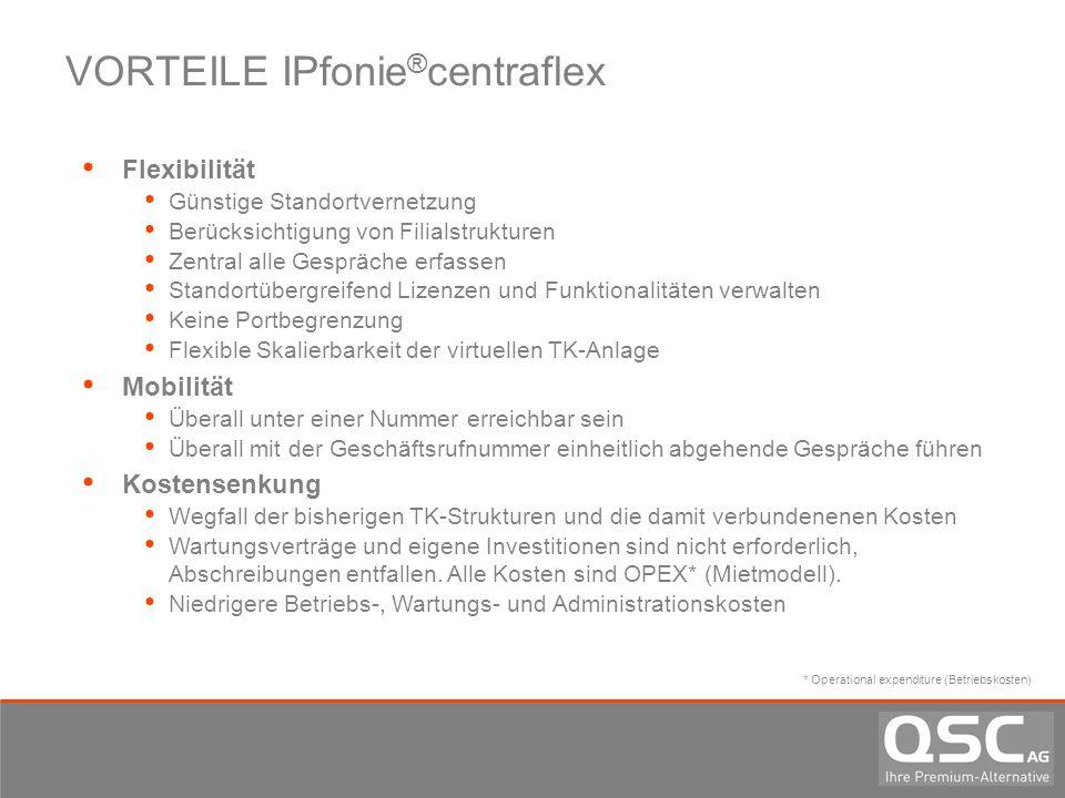 VORTEILE IPfonie ® centraflex Flexibilität Günstige Standortvernetzung Berücksichtigung von Filialstrukturen Zentral alle Gespräche erfassen Standortü