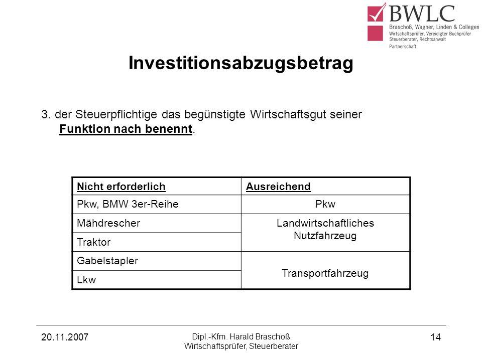 20.11.2007 Dipl.-Kfm. Harald Braschoß Wirtschaftsprüfer, Steuerberater 14 Investitionsabzugsbetrag 3. der Steuerpflichtige das begünstigte Wirtschafts