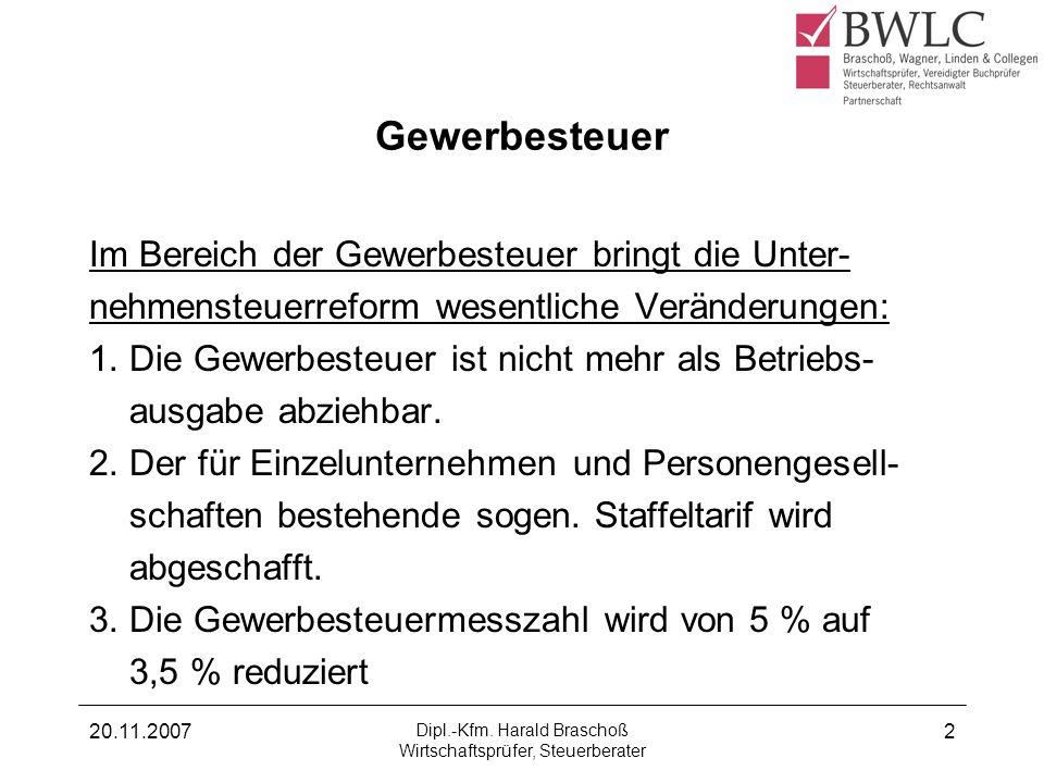 20.11.2007 Dipl.-Kfm. Harald Braschoß Wirtschaftsprüfer, Steuerberater 2 Gewerbesteuer Im Bereich der Gewerbesteuer bringt die Unter- nehmensteuerrefo