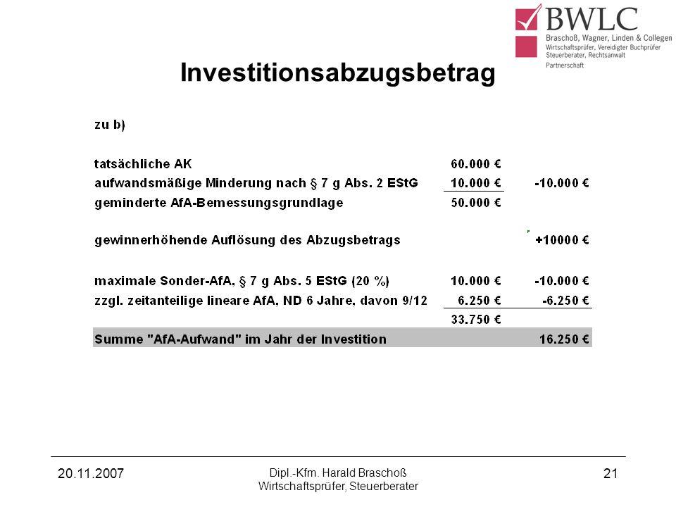 20.11.2007 Dipl.-Kfm. Harald Braschoß Wirtschaftsprüfer, Steuerberater 21 Investitionsabzugsbetrag
