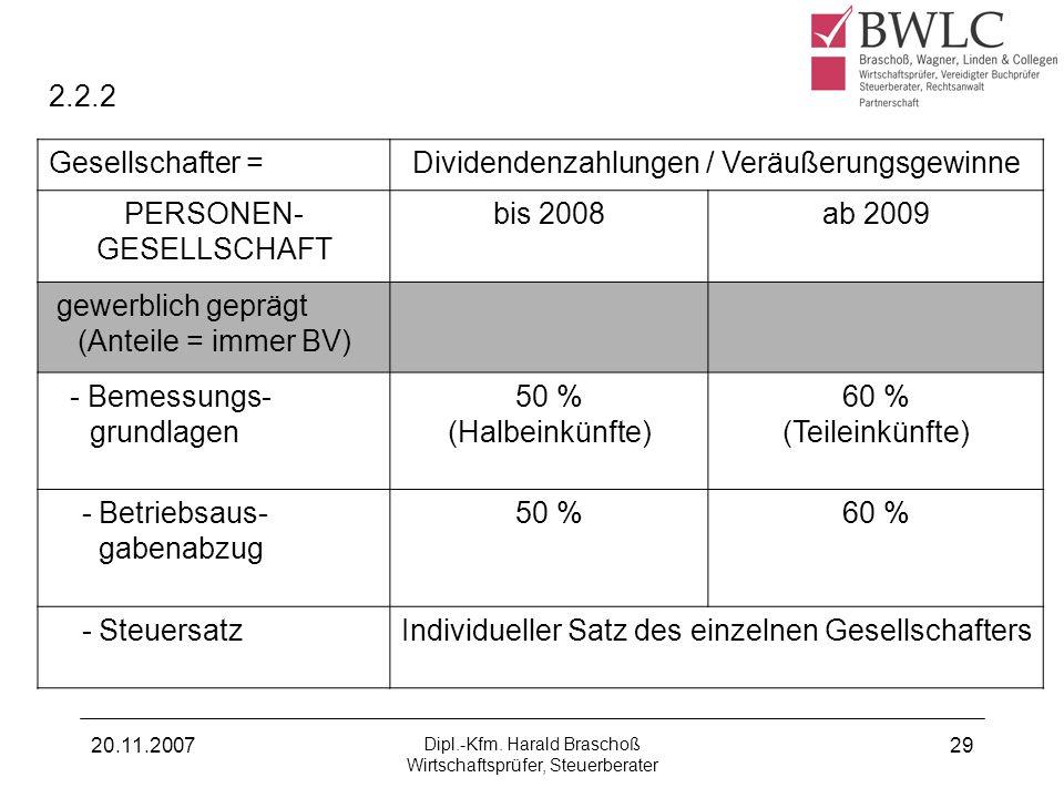 20.11.2007 Dipl.-Kfm. Harald Braschoß Wirtschaftsprüfer, Steuerberater 29 2.2.2 Gesellschafter =Dividendenzahlungen / Veräußerungsgewinne PERSONEN- GE