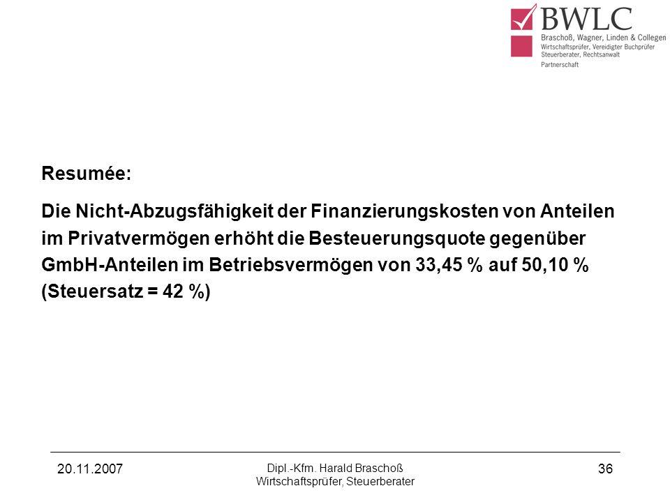 20.11.2007 Dipl.-Kfm. Harald Braschoß Wirtschaftsprüfer, Steuerberater 36 Beispiel zu a) GmbH-Anteile liegen im Betriebsvermögen Resumée: Die Nicht-Ab