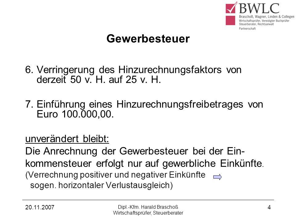20.11.2007 Dipl.-Kfm. Harald Braschoß Wirtschaftsprüfer, Steuerberater 4 Gewerbesteuer 6. Verringerung des Hinzurechnungsfaktors von derzeit 50 v. H.