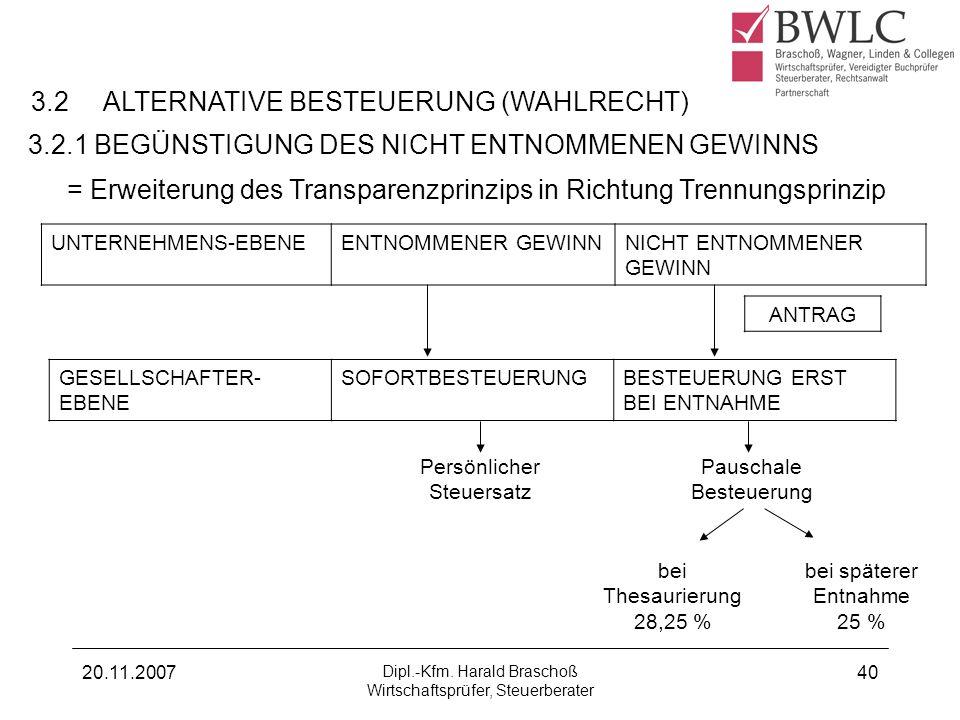 20.11.2007 Dipl.-Kfm. Harald Braschoß Wirtschaftsprüfer, Steuerberater 40 3.2 ALTERNATIVE BESTEUERUNG (WAHLRECHT) 3.2.1 BEGÜNSTIGUNG DES NICHT ENTNOMM