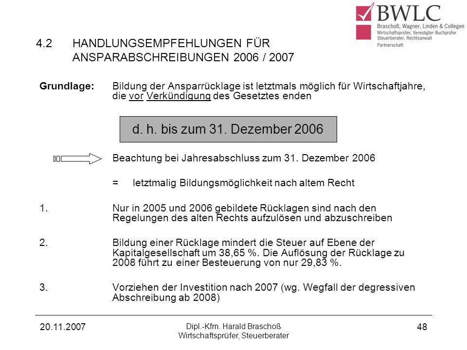 20.11.2007 Dipl.-Kfm. Harald Braschoß Wirtschaftsprüfer, Steuerberater 48 4.2HANDLUNGSEMPFEHLUNGEN FÜR ANSPARABSCHREIBUNGEN 2006 / 2007 Grundlage:Bild