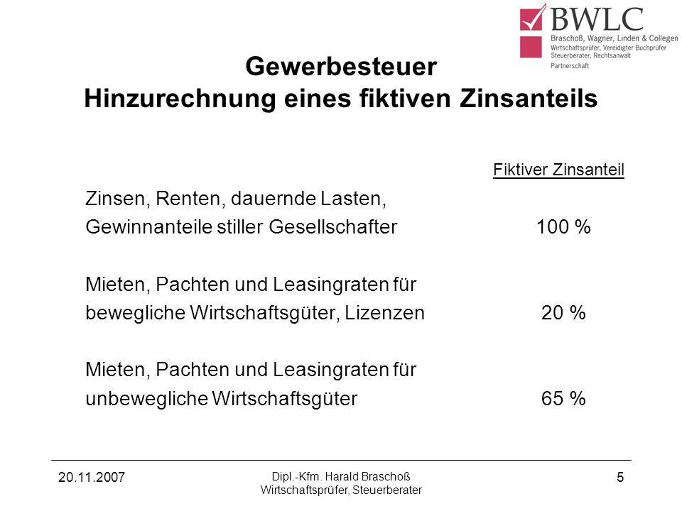 20.11.2007 Dipl.-Kfm. Harald Braschoß Wirtschaftsprüfer, Steuerberater 5 Gewerbesteuer Hinzurechnung eines fiktiven Zinsanteils Fiktiver Zinsanteil Zi