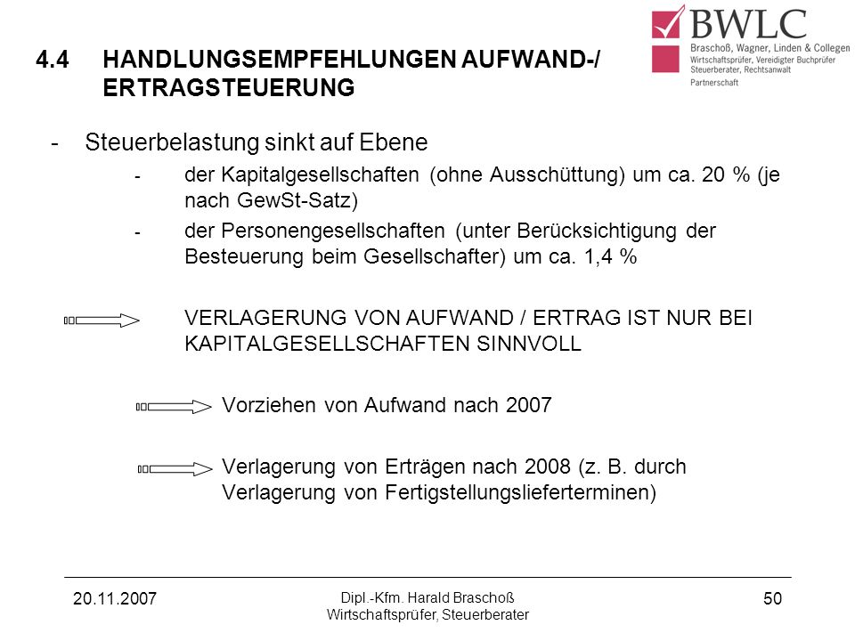 20.11.2007 Dipl.-Kfm. Harald Braschoß Wirtschaftsprüfer, Steuerberater 50 4.4HANDLUNGSEMPFEHLUNGEN AUFWAND-/ ERTRAGSTEUERUNG -Steuerbelastung sinkt au