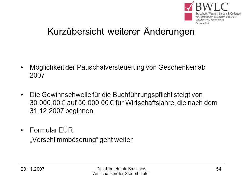 20.11.2007 Dipl.-Kfm. Harald Braschoß Wirtschaftsprüfer, Steuerberater 54 Kurzübersicht weiterer Änderungen Möglichkeit der Pauschalversteuerung von G