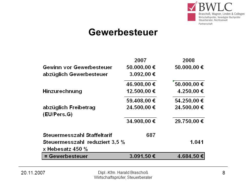 20.11.2007 Dipl.-Kfm. Harald Braschoß Wirtschaftsprüfer, Steuerberater 8 Gewerbesteuer