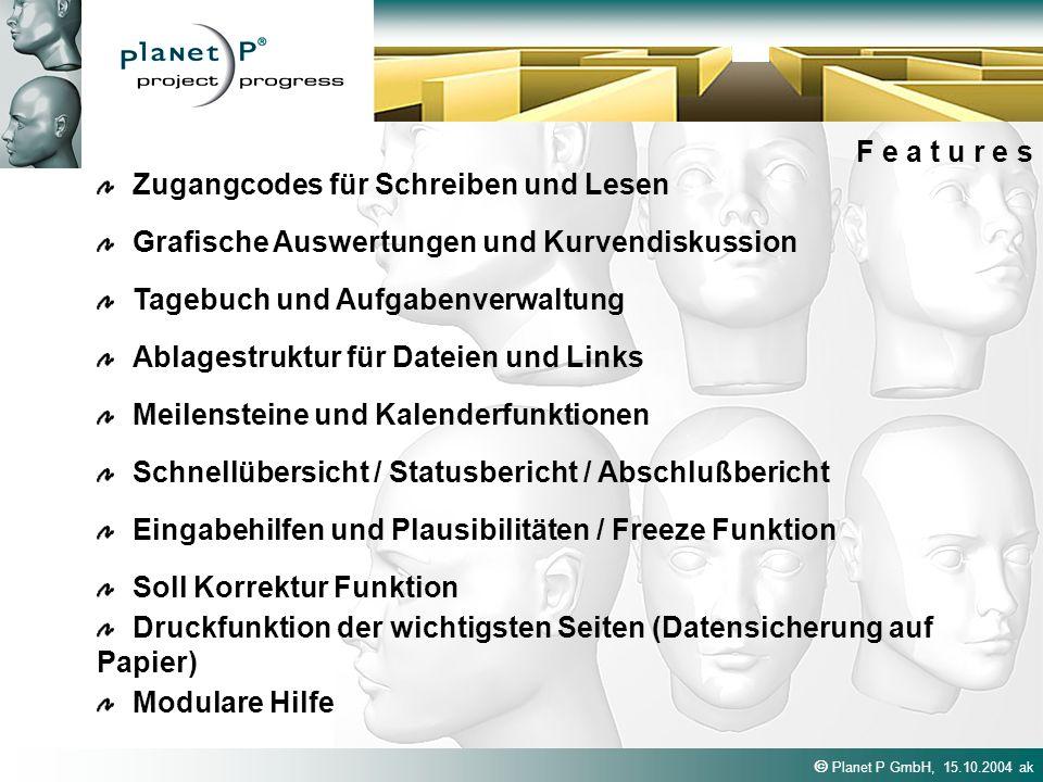 Planet P GmbH, 15.10.2004 ak F e a t u r e s Zugangcodes für Schreiben und Lesen Ablagestruktur für Dateien und Links Tagebuch und Aufgabenverwaltung