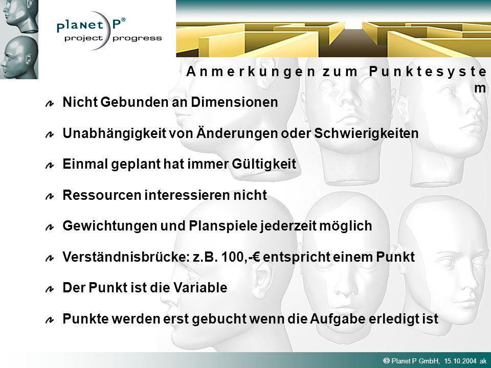 Planet P GmbH, 15.10.2004 ak A n m e r k u n g e n z u m P u n k t e s y s t e m Nicht Gebunden an Dimensionen Einmal geplant hat immer Gültigkeit Unabhängigkeit von Änderungen oder Schwierigkeiten Gewichtungen und Planspiele jederzeit möglich Verständnisbrücke: z.B.