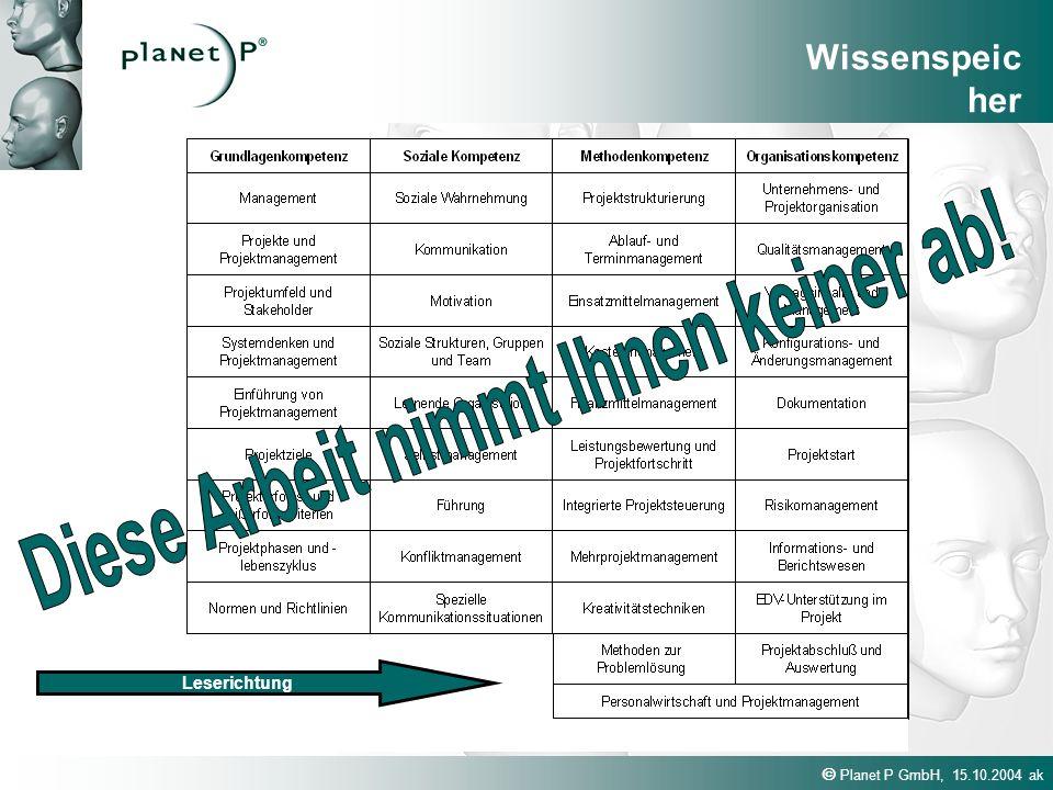 Planet P GmbH, 15.10.2004 ak Leserichtung Wissenspeic her