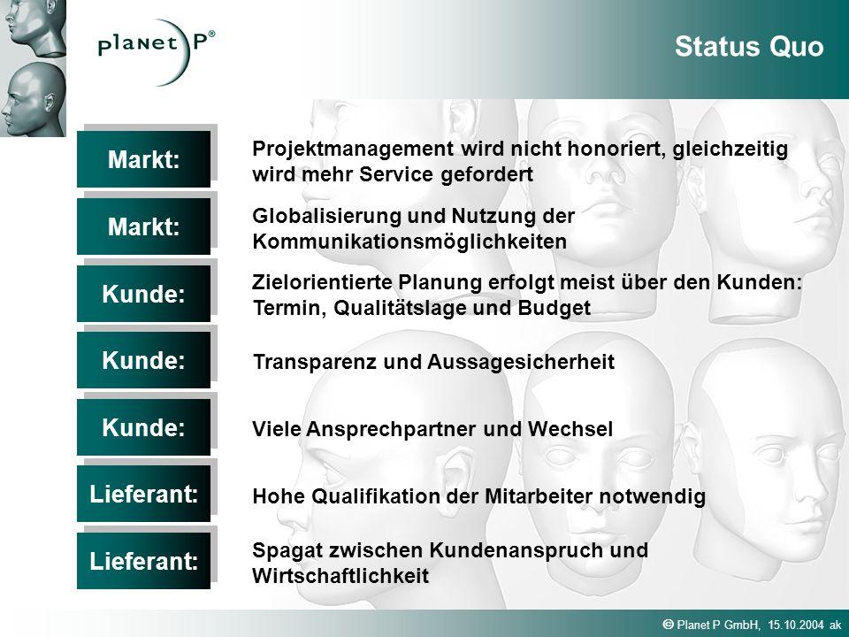 Planet P GmbH, 15.10.2004 ak Markt: Projektmanagement wird nicht honoriert, gleichzeitig wird mehr Service gefordert Status Quo Markt: Globalisierung