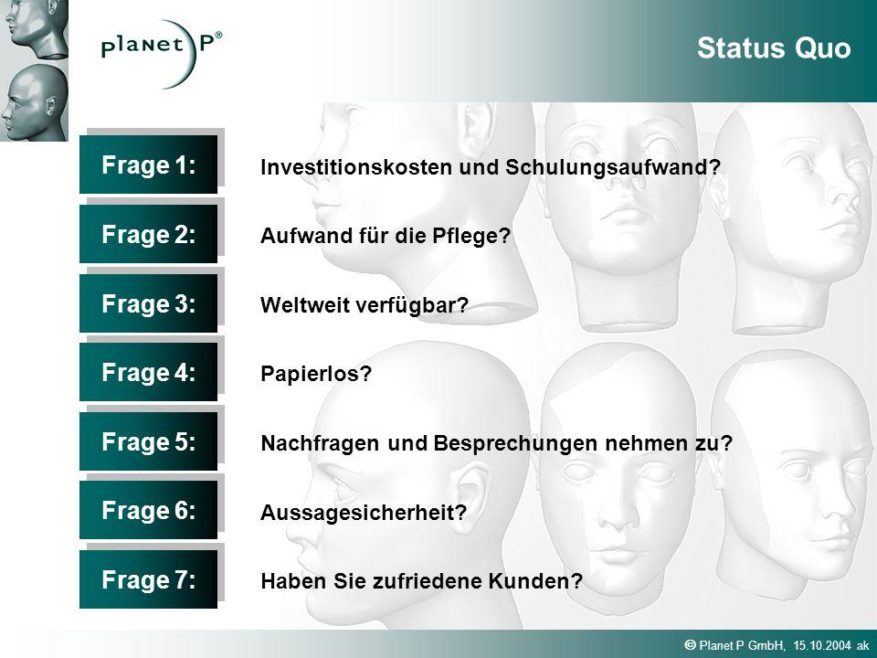 Planet P GmbH, 15.10.2004 ak Frage 1: Investitionskosten und Schulungsaufwand? Frage 2: Aufwand für die Pflege? Frage 3: Weltweit verfügbar? Frage 4:
