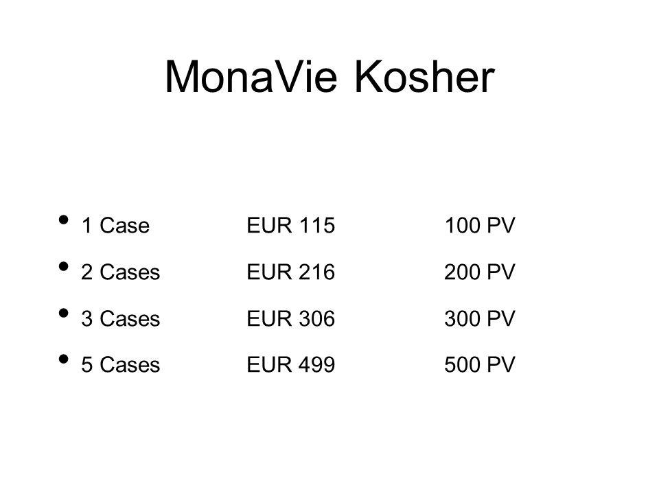 MonaVie Kosher 1 CaseEUR 115100 PV 2 CasesEUR 216200 PV 3 CasesEUR 306300 PV 5 CasesEUR 499500 PV