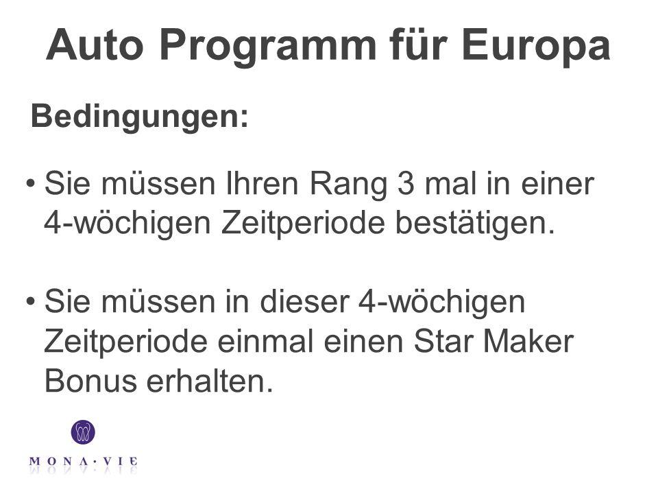 Auto Programm für Europa Sie müssen Ihren Rang 3 mal in einer 4-wöchigen Zeitperiode bestätigen. Sie müssen in dieser 4-wöchigen Zeitperiode einmal ei