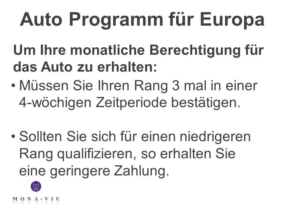 Auto Programm für Europa Müssen Sie Ihren Rang 3 mal in einer 4-wöchigen Zeitperiode bestätigen. Sollten Sie sich für einen niedrigeren Rang qualifizi