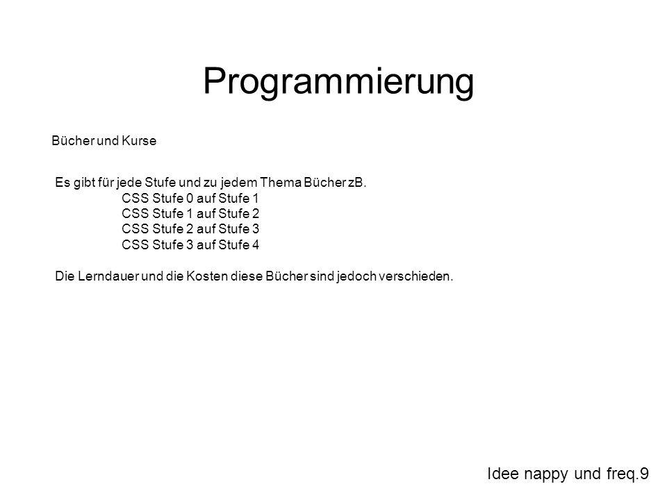 Idee nappy und freq.9 Programmierung Bücher und Kurse Es gibt für jede Stufe und zu jedem Thema Bücher zB. CSS Stufe 0 auf Stufe 1 CSS Stufe 1 auf Stu