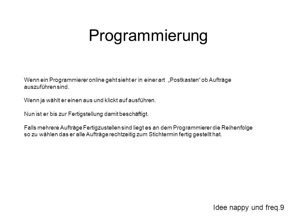 Idee nappy und freq.9 Programmierung Wenn ein Programmierer online geht sieht er in einer art Postkasten ob Aufträge auszuführen sind. Wenn ja wählt e